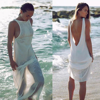 SIMPLE - Popular Fashionable Summer Sexy White Everyday Wear Backless Beach Casual Boho Dress b2634