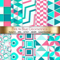 Geometric Digital Paper: Pink & Blue Geometrics 12x12 Scrapbooking Papers - Craft Supplies Papercrafting - Instant Download Printable