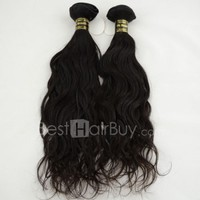10 Inch - 30 Inch 2 Pieces Mix Length Virgin Brazilian Remy Hair Weft Natural Wavy Natural Black 200g