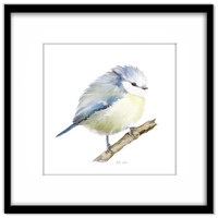 Blue Bird Instant Download, Blue Tit  Printable Poster, Wall Art, Home Decor, Card Making