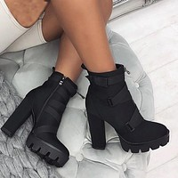 New style short boots thick heel platform super high heel platform boots