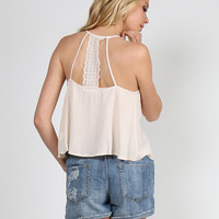 Lace Detailed Flowy Strappy Top