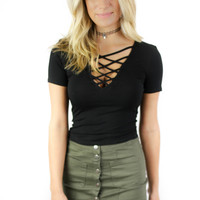 Of Course Black Waist Length Short Sleeve Fitted Top