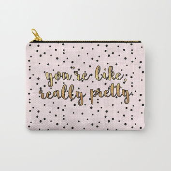 """You're Like, Really Pretty"" Polka Dots Zipper Pouch - Pink/Black/Gold"