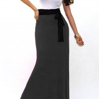 White and Gray Color Block Maxi Dress