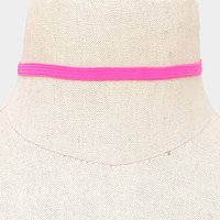 """18"""" pink stretch band choker collar necklace .25"""" wide adjustable"""