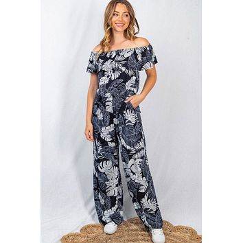 Lost In Paradise Navy Palm Leaf Off The Shoulder Jumpsuit