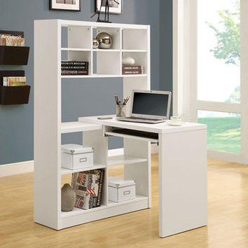 Hollow Core Left/Right Facing Corner Desk and Shelf Combo - White | Meijer.com