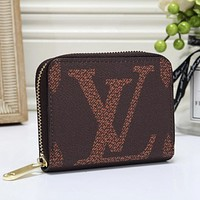 Louis Vuitton LV Fashion Women Leather Zipper Wallet Purse Coffee