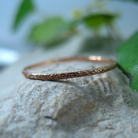 Thin Feathered Pink Gold 18g Stacking Ring