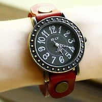 Woman watch with leather bracelet. Bracelet from natural cow leather. Unisex. Vintage and retro style.
