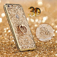 Gold Plating Case 3D Rugged Flower Glitter Diamonds Phone Cases For iPhone 7 7plus TPU soft Ring Cover For Iphone 6 6S/ Plus -Girllove100