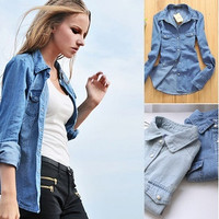Fashion Style Women Lady Girl Retro vintage Long Sleeve Blue Jean Denim Shirt Tops Blouse Clothes S M L XL = 1930130948