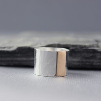 Sterling Cigar Ring, Mixed metal minimalist ring, thick band ring, cigar band ring, Bronze and sterling silver, wide band ring,