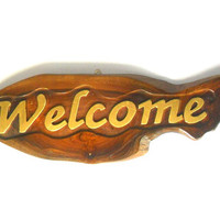 """Handmade Natural teak wood  carving Welcome  Sign Wall Hnging Decor Plaque Hand Carved Custom  signs perfect for coffee shop 16.5""""X6"""""""