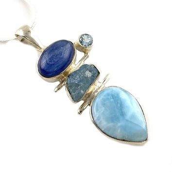 Larimar, Kyanite, Aquamarine Rough & Blue Topaz Silver Pendant