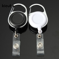 White Black Retractable Pull Key Ring ID Badge Lanyard Name Tag Card Holder Recoil Reel Belt Clip Metal Housing Plastic Covers
