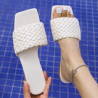 New women's shoes, woven casual flat sandals