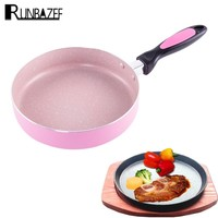 RUNBAZEF Gohide Frying Pan In Colorful Design Cooking Pot Flat Bottom Without Lid Panelas Frigideira Ceramic Nonstick Skillet