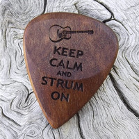 Rustic California Eucalyptus - Handmade Laser Engraved Premium Wood Guitar Pick - Actual Pick Shown - Engraved Both Sides