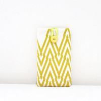 Iphone 6 plus sleeve, hand printed fabric, Sony Xperia Z ultra, yellow IPhone case, fabric phone sleeve, gift for teen, handmade in the Uk