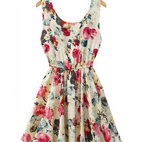 Floral Print Sleeveless Mini Chiffon Skater Dress