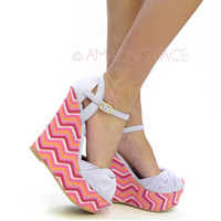 Fruit Punch Chevron Pink Lilac Wedge Sandal
