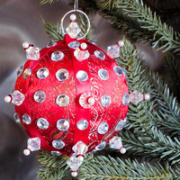 Christmas Ornament, Red Ball with Silver Accents in Gift Box, Handmade Fabric Tree Decoration, Hostess Present, Holiday Decor, Gift Wrap