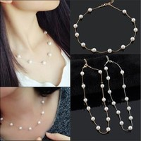 Korean Women Girls Fashion Artificial Pearls Golden/Silver Chain Choker Necklace Lovely Simple Jewelry [8081689031]