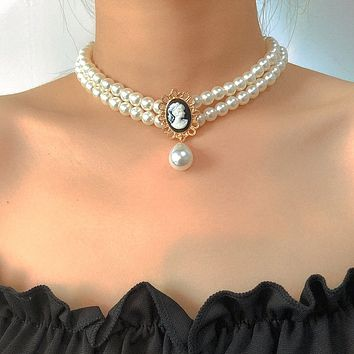 Simple Imitation Pearl Clavicle Chain Choker Necklace Vintage Multi Layer Chain Charm Necklace Jewelry for Women and Men