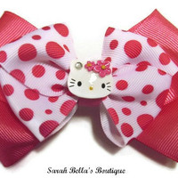 Pink Polka Dot Hello Kitty Stacked Bow by SarahBellasBoutique