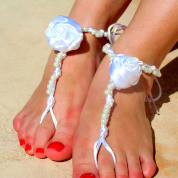 Wedding  Barefoot Sandals, bride shoes, Foot jewelry, Wedding, Victorian Lace, Sexy, Yoga, Anklet , Bellydance, Steampunk, Beach Pool