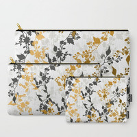 Carry-All Pouch or Laptop Sleeve - Floral Pattern - Canvas-like fabric, Travel, Pocket, Pattern, Traveler, Custom, Carry, Cosmetic, Make-up