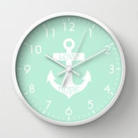 Love Hope Anchor Mint Green Wall Clock by Beautiful Homes