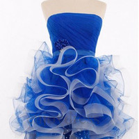 Custom Royal Blue Short Beaded Prom Dresses Fashion Evening Gowns Wedding Party Dress Party Dress Bridesmaid Dresses 2014 New Ball Gowns