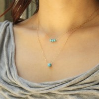 Small Turquoise Blue Color Crystals One Line Row Bar Gold Silver Necklace - Delicate Simple Modern Jewelry - PASSION, three by 5050 Studio