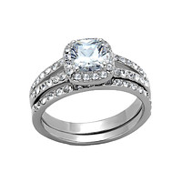 Elaine - Women's High Polished Stainless Steel Ring with 1.6 CT. Eq. AAA Grade CZ Square Cut Stone