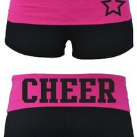 Juniors Two Tone Fold Over Cheer Spandex Shorts Pink or Turquoise (Large, Black/Orange)