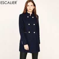 ESCALIER New Design Vogue Winter Women Coat Navy Coat With Big Fur Collar Warm Long-sleeved Outerwear Overcoat with Button