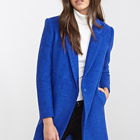 FOREVER 21 Classic Boucle Overcoat Royal