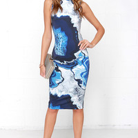 Cameo Metal and Dust Blue Print Midi Dress