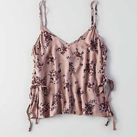 Don't Ask Why Flowy Lace-Up Tank, Iced Mocha