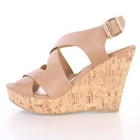 Nude Strappy Peep Toe Cork Wedges Faux Leather