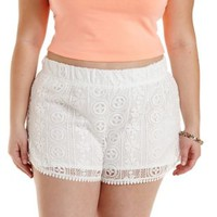 Plus Size White Crochet Dolphin Shorts by Charlotte Russe