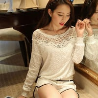 White Floral Cut-Out Long Sleeve Chiffon Top