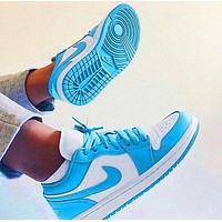 NIKE AJ AIR Jordan1 sneakers Basketball shoes  Low tops  Cyan White