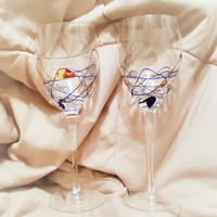 Stunning Hand Blown Tall Ten Inch Wine Glasses Goblets Glasses With Abstract Design in Gold, and Blue, Hand Blown Wine Glasses
