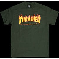 Thrasher Flame Tee Small forest Green Skateboard