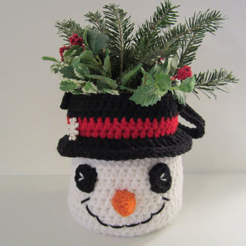 Crochet Snowman Basket Childs Purse Winter Centerpiece by CROriginals