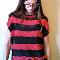Tee, Striped, Black and Red Boxy Knit Tee, Loose Fitting